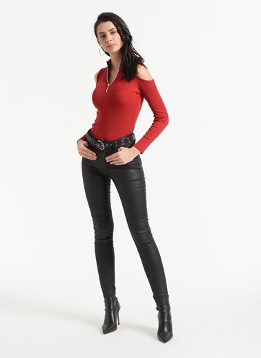 Styletag Omuz Detaylı Bluz Kırmızı